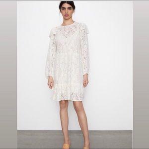 Zara • Ivory Lace Ruffle midi dress • women's size large